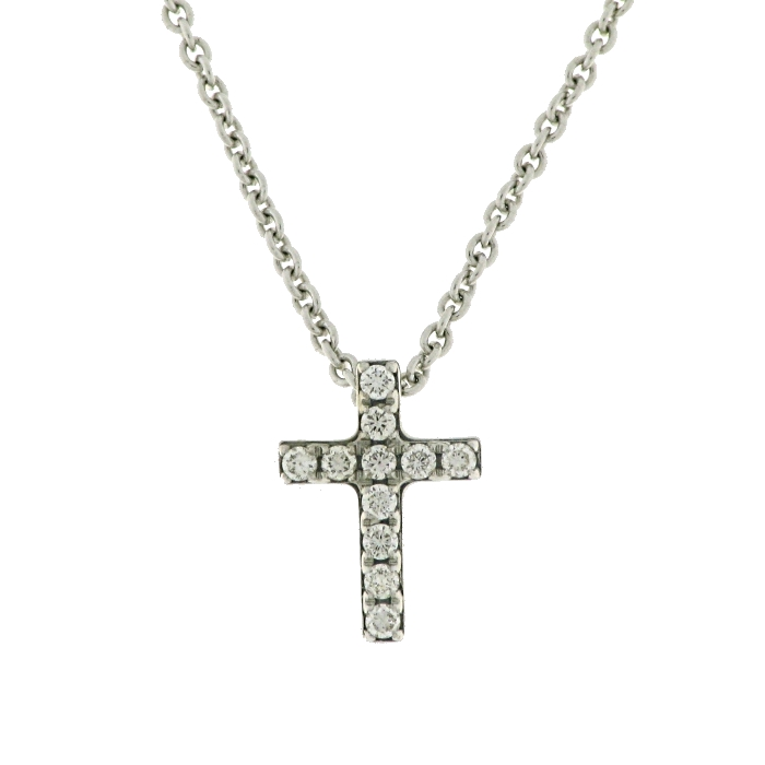 ea4e25a00b1a Cruz oro blanco 18 Ktes. con once diamantes talla brillante y cadena